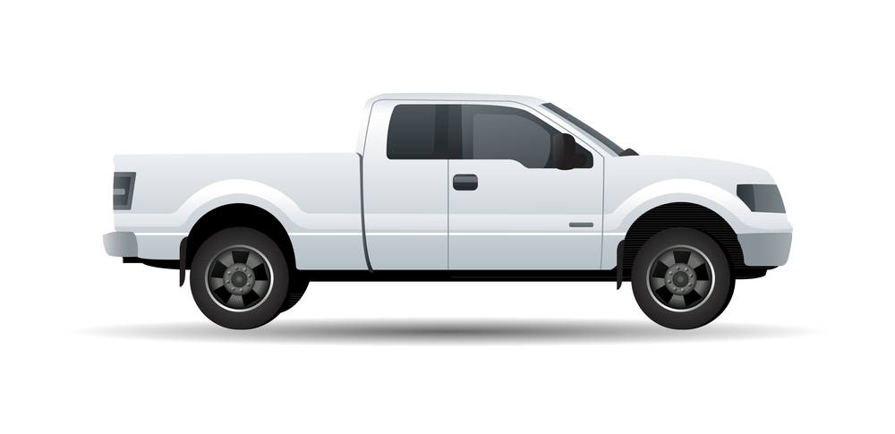 White pick up truck isolated on white